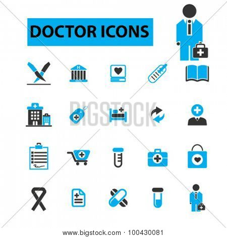 Doctor icons concept.  Doctor and patient, medical icons, nurse, hospital, health, medicine. Vector illustration set