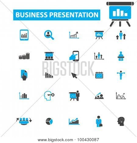 Business presentation icons concept. Business meeting,  graphs, diagram chart, business conference,  business,  business training, lecture, presenter. Vector illustration set