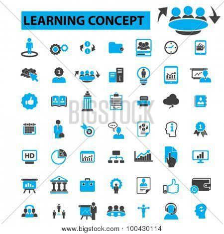 Learning icons concept.  Education,  training,  adult learning,  teaching,  knowledge,  learning,  book,  study. Vector illustration set