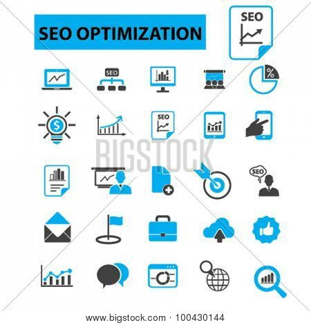 Seo optimization icons concept. Social media,  internet marketing,  search optimization,  web design,  search engine,  online marketing, development, startup. Vector illustration set
