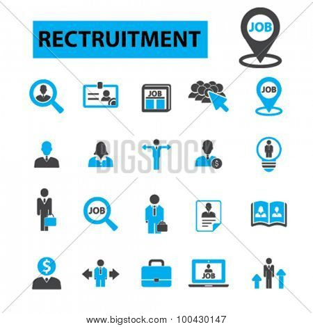 Recruitment icons concept. Hiring,  job,  human resources,  career,  interview,  employment, job. Vector illustration set