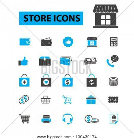 Store, shop icons concept. Shopping, supermarket, marketing, mall, retail, sales, shopping bag, shopping mall, shopping cart. Vector illustration set
