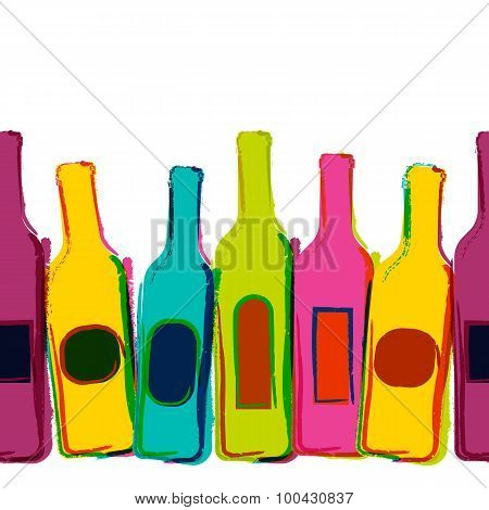 Abstract Vector Watercolor Seamless Background With Colorful Wine Bottles. Concept For Bar Menu, Par