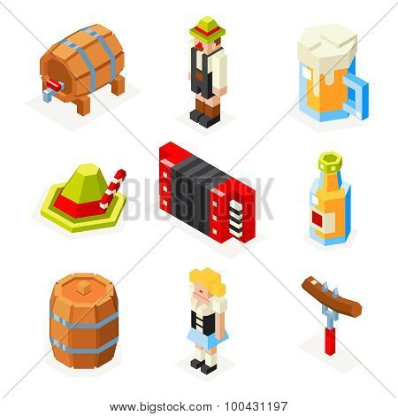oktoberfest isometric 3d polygon icons set beer keg man woman accordion cap foam sausage fork glass