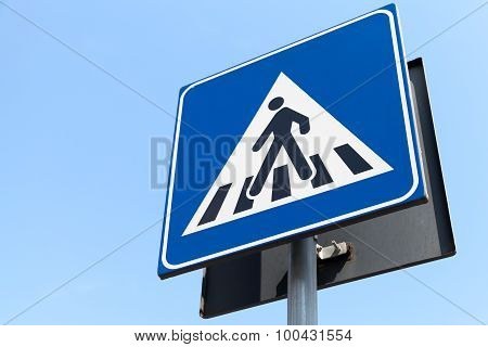 Pedestrian Crossing. Modern Two-sided Road Sign