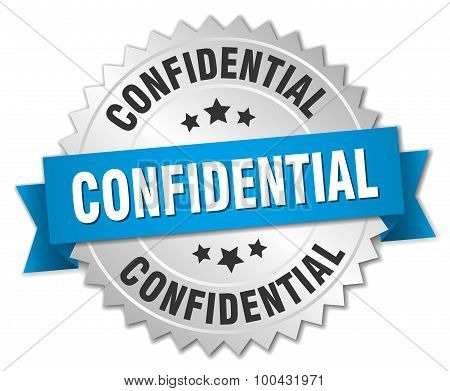 Confidential 3D Silver Badge With Blue Ribbon