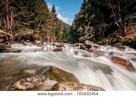 waterfall in the mountains in the national park Hohe Tauern in Austria.