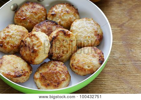 fried meat burgers (cutlets)  in a frying pan
