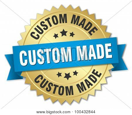 Custom Made 3D Gold Badge With Blue Ribbon