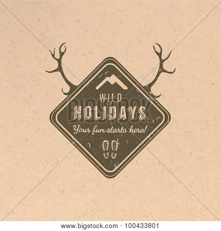 Wild holidays label in vintage style