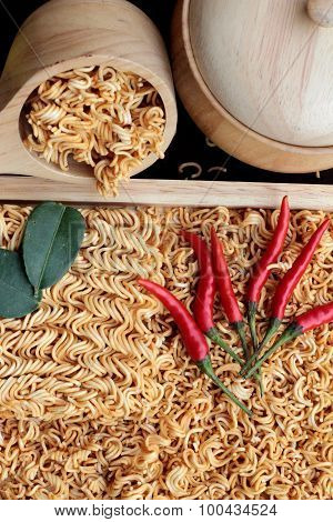 Dry Instant Noodle - Asian Ramen And Vegetables For The Soup