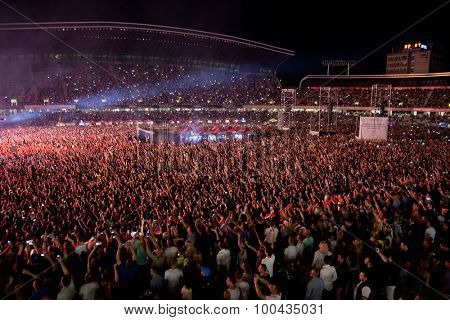 CLUJ-NAPOCA, ROMANIA - AUGUST 3, 2015: Crowd having fun during a live concert at Untold Festival in the European Youth Capital city