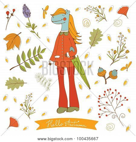 Hello autumn elegant card with cute horse character