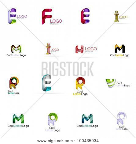 Set of colorful abstract letter corporate logos made of overlapping flowing shapes. Universal business icons for any idea or concept. Business, app, web design symbol template