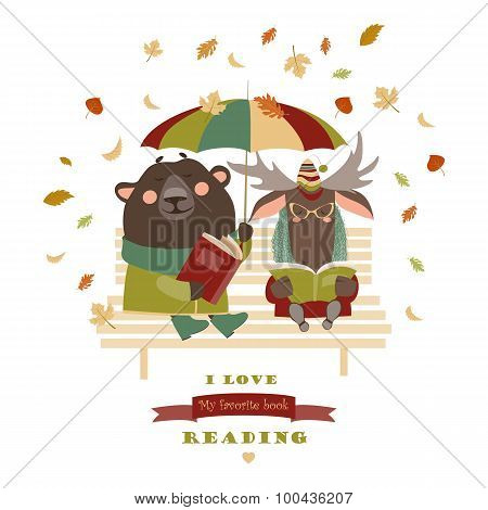 Cute bear and funny elk reading books on bench