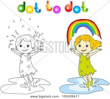 Girl Dancing With Rainbow Dot To Dot