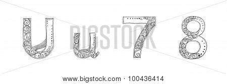 U 7 8 Vanda Freehand Pencil Sketch Font