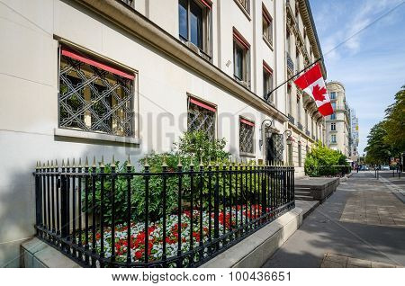 The Canadian flag flies outside its embassy in the Champs-Elysees district.