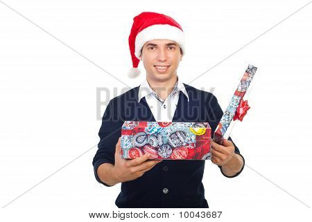 Smiling Man With Open Christmas Gift