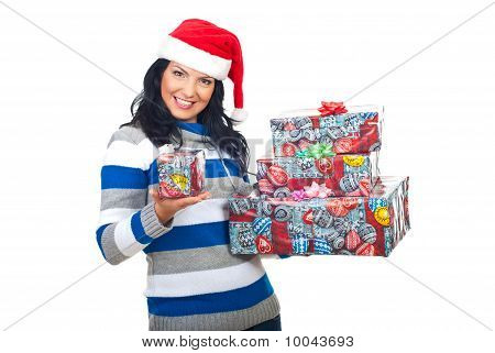Happy Woman Offering You A Small Gift
