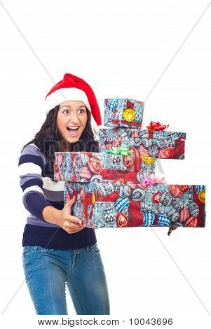 Amazed Woman With Gifts Ready To Fall