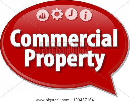 Speech bubble dialog illustration of business term saying Commercial Property