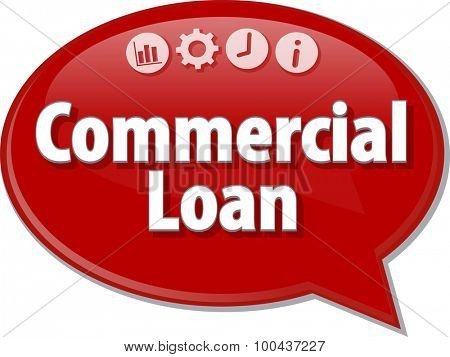 Speech bubble dialog illustration of business term saying Commercial Loan