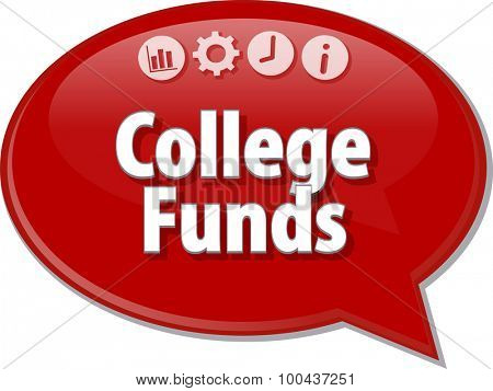 Speech bubble dialog illustration of business term saying College Funds
