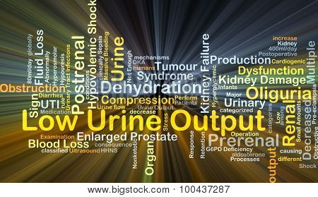 Background concept wordcloud illustration of low urine output glowing light