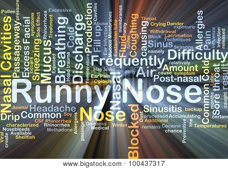 Background concept wordcloud illustration of runny nose glowing light