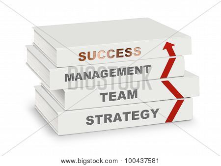 Pile Of Books Covered Management, Team, Strategy, Success And Arrow, Business Concept Isolated On Wh