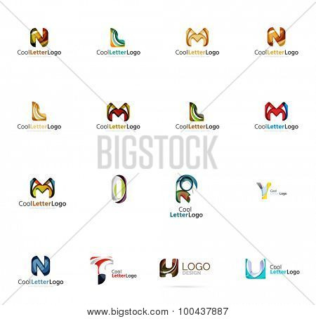 Set of new universal company logo ideas, geometric business icon collection - alphabet letters, swirl waves and other shapes