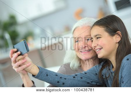 Taking a photo with grandma