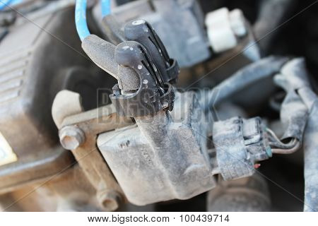 High-voltage Wires On The Ignition Coil