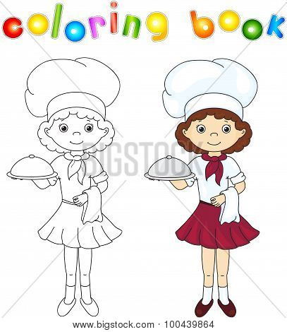 Cook Or Waiter In Their Uniform With Closed Dish. Coloring Book. Game For Children