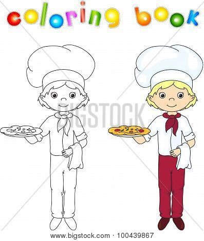 Cook Or Waiter In His Uniform With Cake And Pizza. Coloring Book. Game For Children