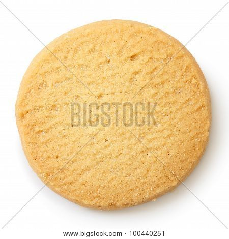 Single Round Shortbread Biscuit Isolated On White From Above.