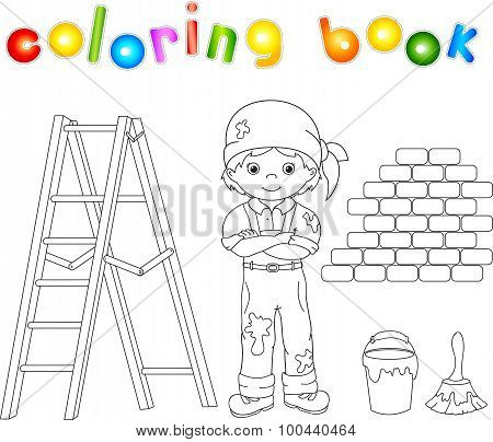 Painter In Overalls And Bandana. Ladder, Paint Brush And Bucket Of Paint. Coloring Book