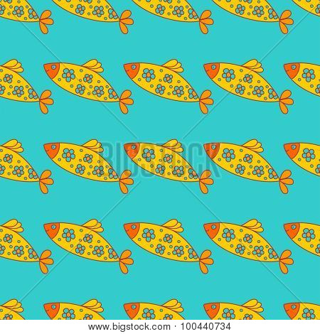 Seamless background with cute cartoon fishes. Yellow fish with blue flowers. Vector seamless fish pattern for textile, web and other design.