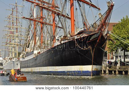 The Sedov Tall Ship Docked.