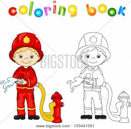 Fireman In A Red Uniform And Helmet With A Hose In His Hand. Coloring Book