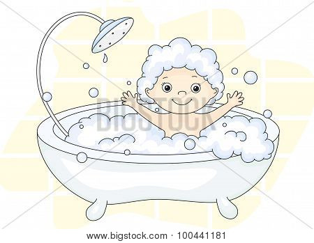 ?ute Toddler Bathing In The Bath With Foam And Laughing