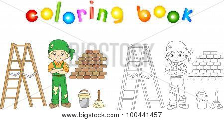 Painter In Overalls And Bandana. Ladder, Paint Brush And Bucket Of Paint.