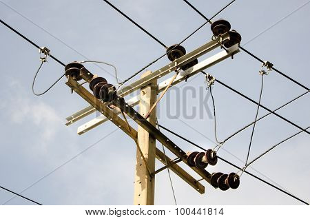 Electric pillar with transformer in the electric network