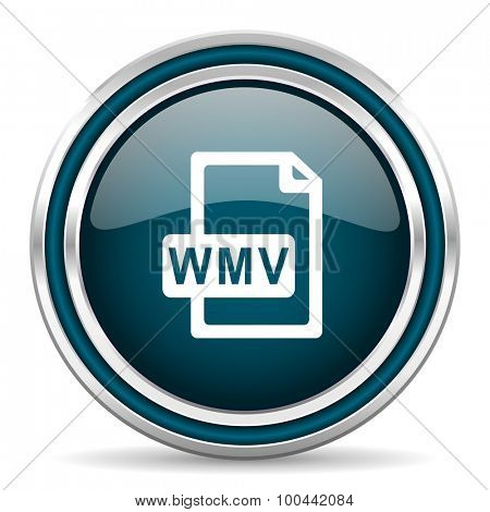 wmv file blue glossy web icon  with double chrome border on white background with shadow