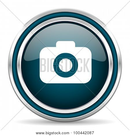 photo camera blue glossy web icon with double chrome border on white background with shadow