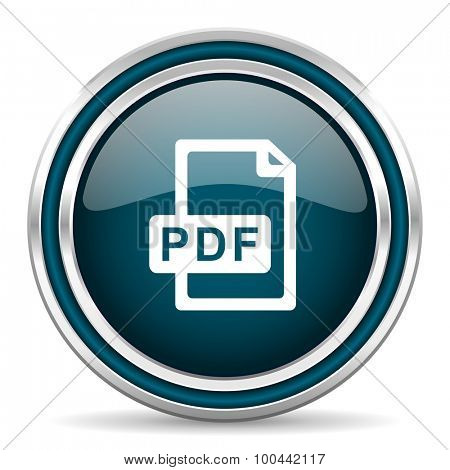 pdf file blue glossy web icon  with double chrome border on white background with shadow