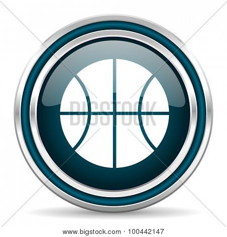 ball blue glossy web icon with double chrome border on white background with shadow