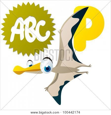 Vector funny animal ABC: Dinos: P is for Pterosaur