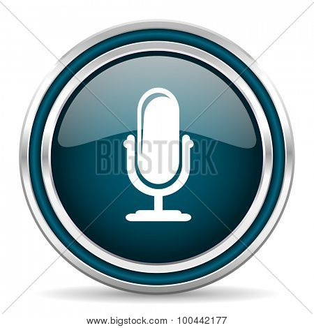 microphone blue glossy web icon with double chrome border on white background with shadow